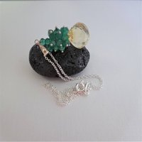 Citrine And Emerald Green Onyx Necklace