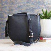 Leather Cross Body Shoulder Bag With Tassel, Navy Blue