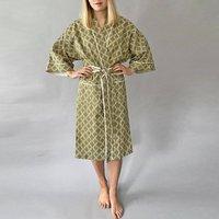 Cotton Wrap Kimono In Olive Diamond Print