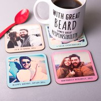 Set Of Four Personalised Photo Coasters, Pink/Blue/White