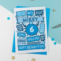 6th Thats Right Personalised Birthday Card Blue, Blue