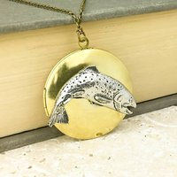 Wild Trout Locket Necklace Pewter And Brass Pendant