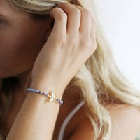 Gold Bee And Blue Cord Bracelet, Gold