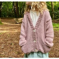 The Kids Chunky Hand Knitted Pink Cardigan