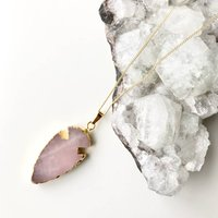 Arrow Head Rose Quartz Stone Pendant