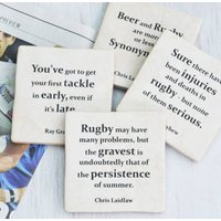 Set Of Four Ceramic Famous Rugby Quotes Coasters