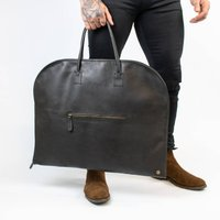 Classic Black Leather Garment Suit Carrier