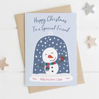 Special Friend Personalised Snowman Christmas Card