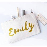 Personalised Name Make Up Bag, Black/Gold/White