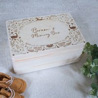 Personalised Memory Box With Woodland Design