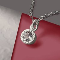 White Topaz Sterling Silver Necklace, Silver