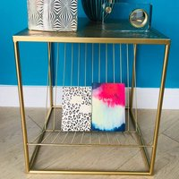 Gold Magazine Rack Table