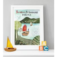 Swallows And Amazons Children's Print, Dark Green/Green/Blue