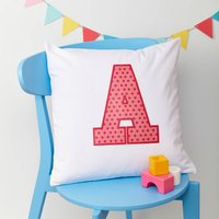 Girls Personalised Initial Cushion