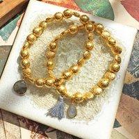 Goa Gold Nuggets Bracelet Set With Gemstone, Gold