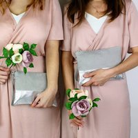 Bridesmaids Leather Two Tone Clutch Bag Set Of Four