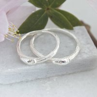 Silver Willow Twig Wedding Rings, Silver Twig Rings, Silver