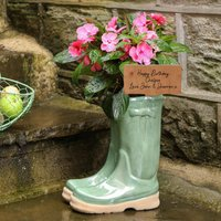 Personalised Welly Boots Garden Plant Pot
