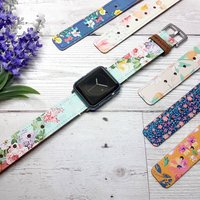 Floral Leather Apple Watch Band 38mm, 40mm, 42mm, 44mm