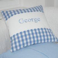 Gingham Name Cushion