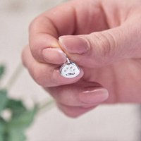 Personalised Silver Paw Print Charm, Silver