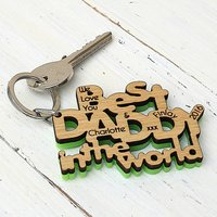 Personalised Best Daddy In The World Keyring, Black/White/Bright Green