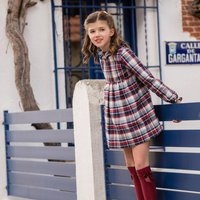 Girls Burgundy And Blue Tartan Dress
