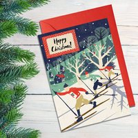 Skiers Christmas Card