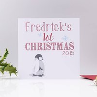 Personalised Baby Penguin 'First Christmas' Card