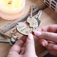 Set Of Two Personalised Wooden Half Heart Keyrings