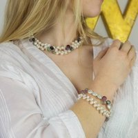 Teardrop Pearl And Gemstone Necklace And Bracelet Set
