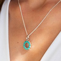 Halo Radiance Turquoise Necklace Small In Silver, Silver