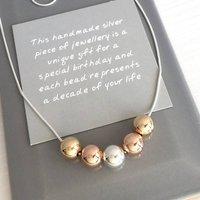 50th Birthday Three Tone Bead Necklace