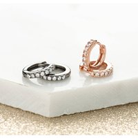 Rose Gold Black Or Sterling Silver Huggie Hoop Earrings, Silver
