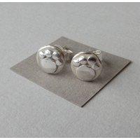 Mini Silver Paw Print Studs, Silver