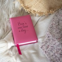 Personalised Script Pink Leather Five Year Diary