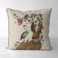 Woodland Hare And Heron Cushion