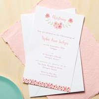 Personalised Floral Christening Or Baptism Invitations, Pink/Blue/Green