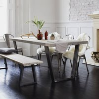 Woburn Reclaimed Wood Dining Table With Steel U Frame, Black/White/Grey