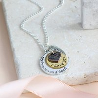 Moon And Back Angel Wing Charm Necklace