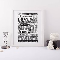 Personalised Home Gift Print, Black/Gold/Grey