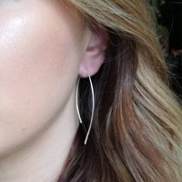 Contemporary Silver Leaf Hoops, Silver