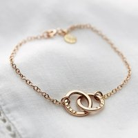 Personalised 9ct Gold Double Hoop Names Bracelet, Gold