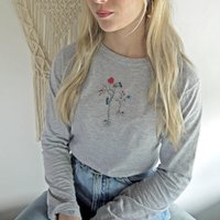 Embroidered Winter Flowers Top With Butterflies