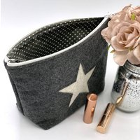 Handmade Wool Clutch Or Cosmetic Bag With Star