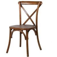 Dark Elm Steel X Back Dining Chair