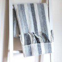 Pure New Wool Stripe Pram Blankets, Blue/Grey