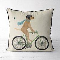 Yellow Labrador On Bicycle Decorative Cushion