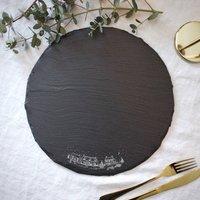Christmas Village Round Slate Platter