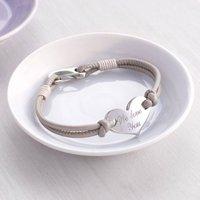 Personalised Heart Leather Bracelet, Pearl/Grey/Orange